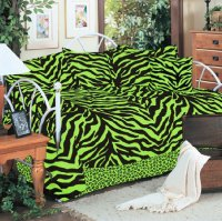 Black and Lime Green Zebra Stripe 5pc Twin Daybed Bedding Set