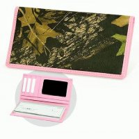 Women's Premium Leather Deluxe Checkbook Wallet Camo & Pink