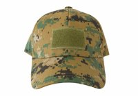 Kids 6 Panel Tactical Cap Woodland Camo