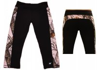 Womens Black Active Capris with Pink Camo Trim 610235