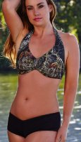 Wilderness MOBU Camo Halter Top & Black Boy Shorts Swimsuit Set