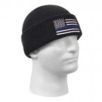 Thin Blue Line Flag Deluxe Embroidered Watch Cap