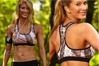 Sports Bra Mossy Oak Pink Breakup Camo with Black Trim 610635