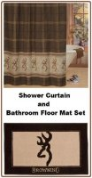 Licensed Browning Buckmark Shower Curtain and Floor Mat Set