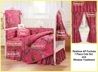 Realtree APC Fuchsia 7 Piece Baby Crib & Window Treatment Set