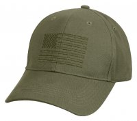 Adult Olive Drab Green Ball Cap with Embroidered U.S. Flag
