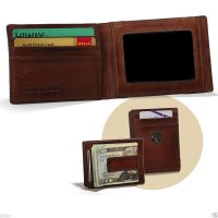 Caramel Leather Front Pocket Wallet w/ Money Clip & Buck Concho