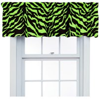Lime Green Zebra Print Window Valance