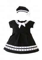 Infant Baby Little Navy Sailor Girl 2 pc Black Dress with Beret