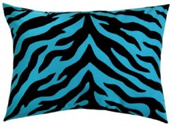 Black and Blue Zebra Stripe Oblong Pillow