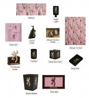 Browning Buckmark & Pink Realtree 25 Piece Bathroom Decor Set