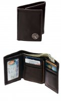 Chocolate Brown Premium Leather Trifold Wallet with Buck Concho