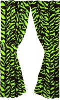 Black and Lime Green Zebra Stripe Panel Drapes