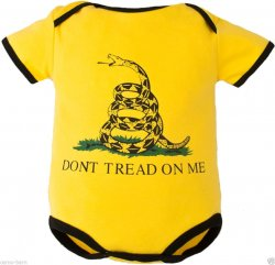 """Don't Tread on Me"" Baby Bodysuit with the Gasden Flag on Front"