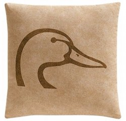 "Ducks Unlimited tan with Brown Logo Square Pillow 20"" x 20"""