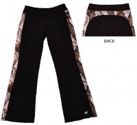 Womens Active Pants Black with Pink Mossy Oak Camo Trim 610135