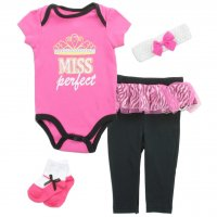 "Buster Brown Baby ""Miss Perfect"" Bodysuit & Pants 4 Pc. Gift Set"
