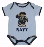 Boys Blue Camo Embroidered Navy Sailor Bear Nautical Bodysuit
