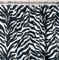 Black Zebra Print Shower Curtain