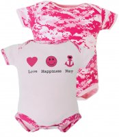 "Pink Camo US Navy ""Love Happiness Navy"" Bodysuit 2 pk"