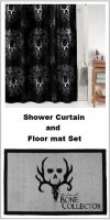 Bone Collector Black Shower Curtain and Bathroom Floor Mat Set