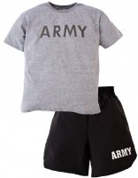 Kids US Army PT Shorts and Tee Shirt Set