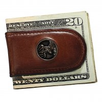 Premium Leather Men's Caramel Brown Money Clip with Buck Concho