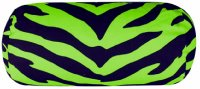 Black and Lime Green Zebra Stripe Neckroll Pillow
