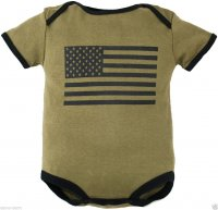 Baby Bodysuit Olive Drab Green with American Flag