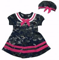 Baby Girls Sailor Nautical 2pc Dress & Beret Hat Camo w/ Pink