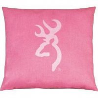 Browning Pink with Buckmark Square Logo Pillow