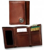 Caramel Brown Premium Leather Trifold Wallet with Trout Fish