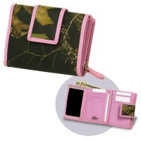 Women's Premium Leather Camo Tri-Fold Wallet with Pink Accents