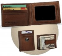 Caramel Leather Front Pocket Wallet w/ Money Clip & Trout Concho