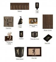 Browning Suede Accent Buckmark 25 Piece Bathroom Decor Set