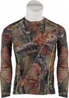 Women's Camo with Neon Green Stitching 4-Way Stretch L/S Shirt