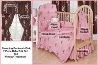 Browning Buckmark Pink 7 Piece Baby Crib & Window Treatment Set