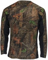 Mens Active Performance Long Sleeve T-Shirt Camo with Black