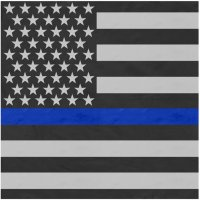 "Adult Thin Blue Line Flag Bandana 27"" x 27"""
