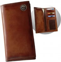 Leather Men's Caramel Brown Pocket Secretary Wallet with Trout