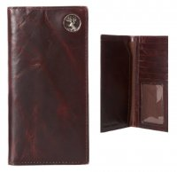 Leather Men's Chocolate Brown Pocket Secretary Wallet with Buck