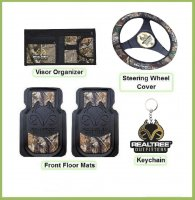 Licensed Realtree Outfitters Camo Auto or Truck Access. Set 5 Pc