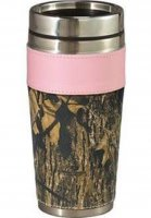 Weber's Pink & Camo Leather 14 oz Travel Mug with No Handle