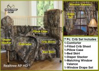Realtree AP Camo 7 Piece Baby Crib & Window Treatment Set