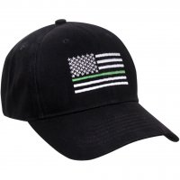 Adult Thin Green Line Embroidered U.S. Flag Ball Cap