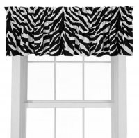 Black & White Zebra Print Window Topper Valance