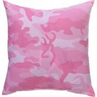 "Browning Buckmark Pink Camo Square Pillow 18"" x 18"""
