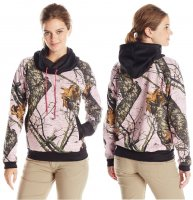Yukon Gear Women's Funnel Neck Hoodie Mossy Oak Pink Camo