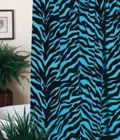 Blue Zebra Print Shower Curtain