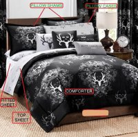 Bone Collector Black Bed-in-a-bag Bed Set